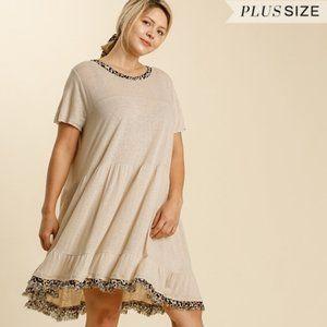 Umgee Plus Size Oatmeal Animal Print Trim Dress